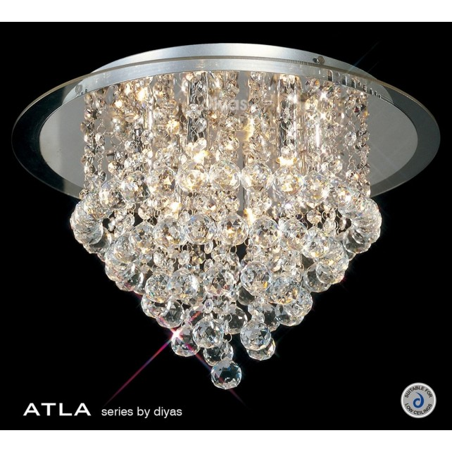 Diyas Atla Flush Ceiling 6 Light Round Polished Chrome/Crystal
