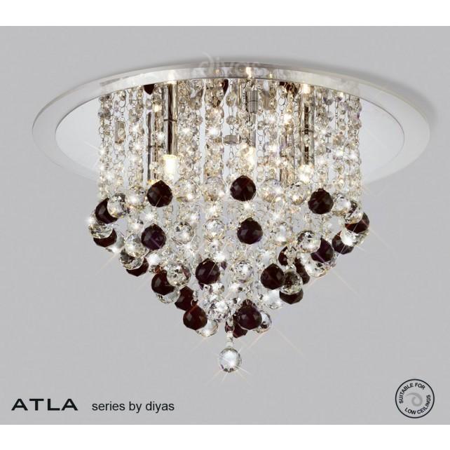 Diyas Atla Ceiling 6 Light Chrome/Crystal With Clear Acrylic Trim
