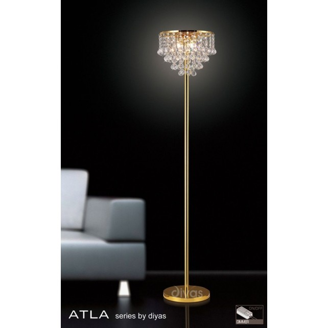 Diyas Atla Floor Lamp 4 Light Gold Plated/Crystal