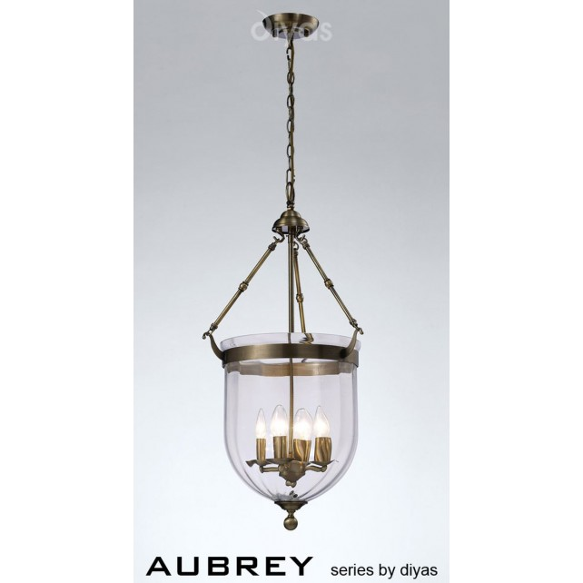 Diyas Aubrey Pendant 4 Light Antique Brass