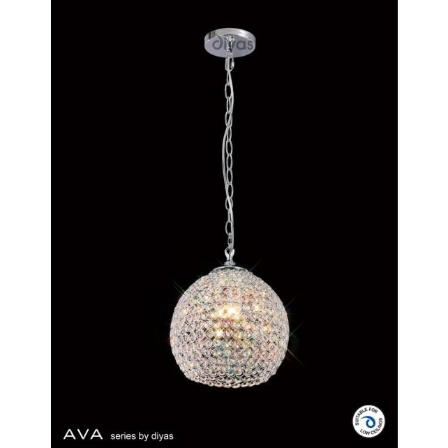 Diyas Ava Pendant 4 Light Polished Chrome/Crystal
