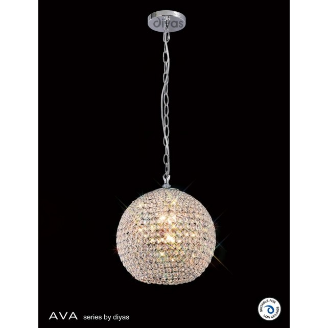 Diyas Ava Pendant 5 Light Polished Chrome/Crystal