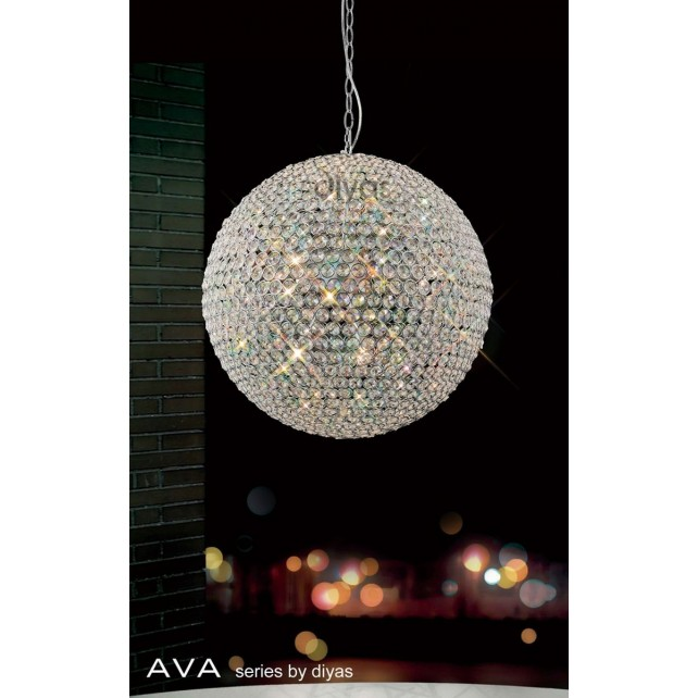 Diyas Ava Pendant 9 Light Polished Chrome/Crystal