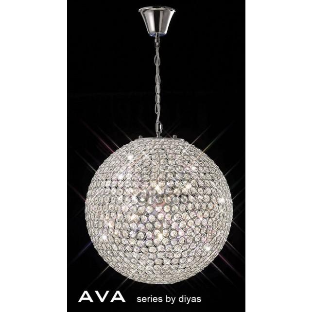 Diyas Ava Pendant 7 Light Polished Chrome/Crystal