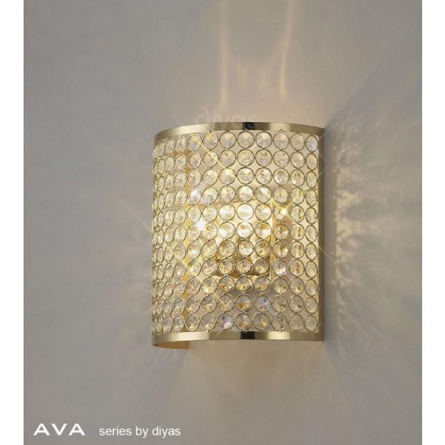 Diyas Ava Rectangle Wall Lamp 2 Light French Gold/Crystal