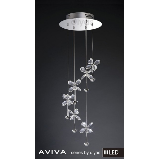 Diyas Aviva Pendant 6 Light 4000K LED Polished Chrome/Crystal