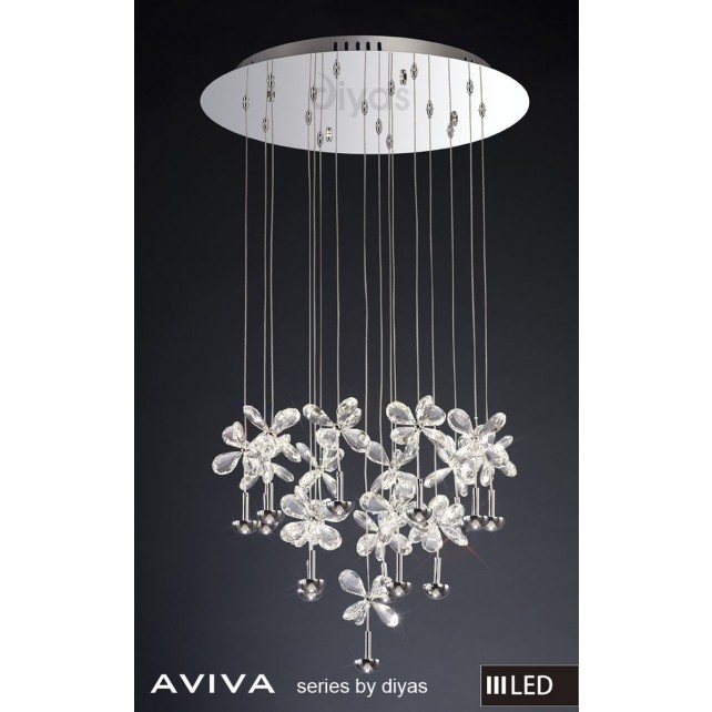 Diyas Aviva Pendant 16 Light 4000K LED Round Polished Chrome/Crystal