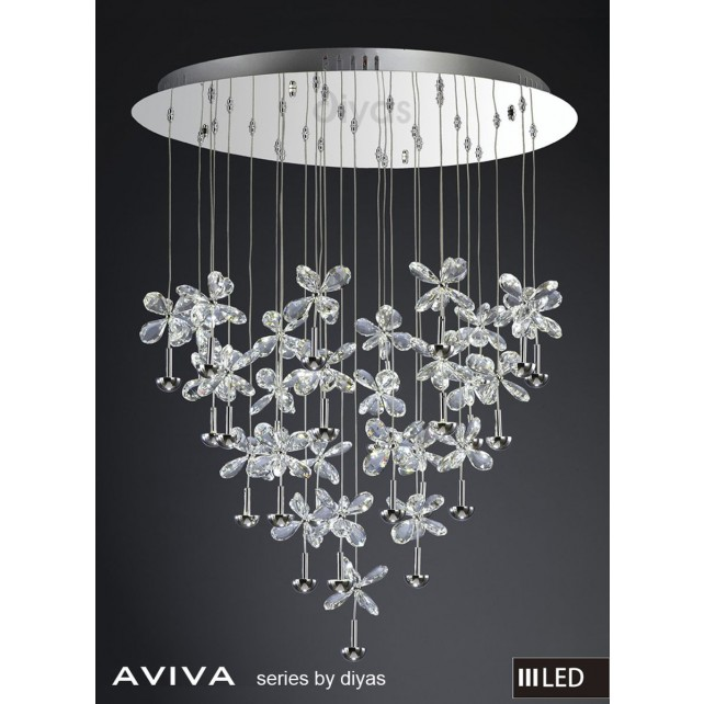 Diyas Aviva Pendant 28 Light 4000K LED Round Polished Chrome/Crystal