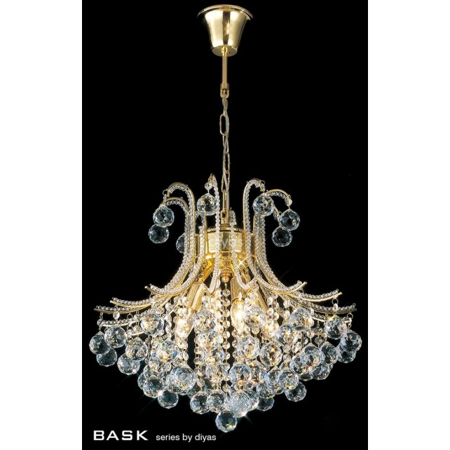 Diyas Bask Pendant 4 Light Round Gold Plated/Crystal