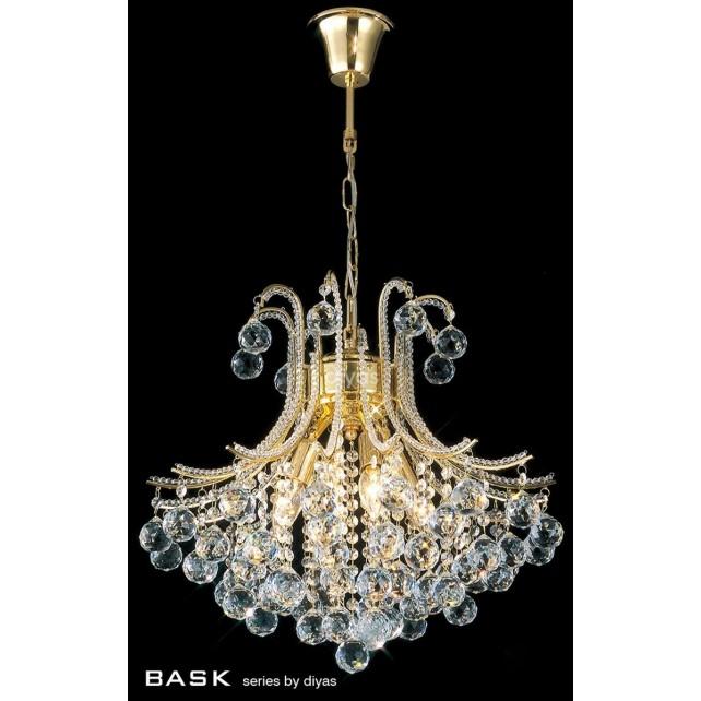 Diyas Bask Pendant 4 Light Round Gold Plated/Crystal