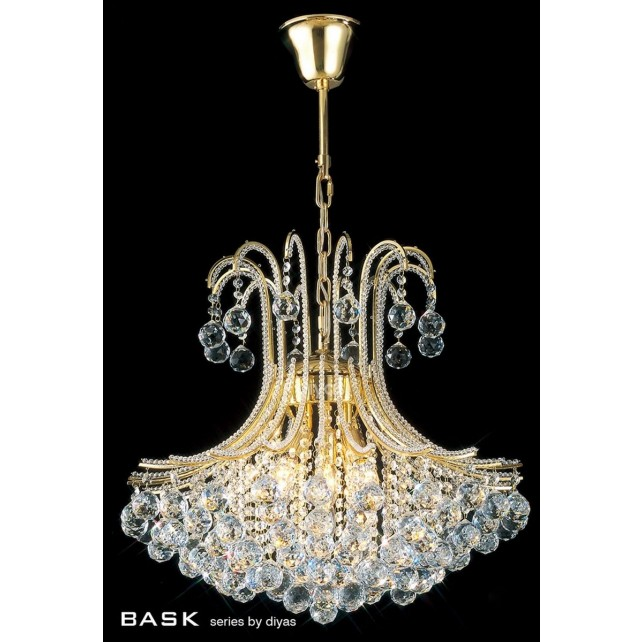 Diyas Bask Pendant 6 Light Round Gold Plated/Crystal