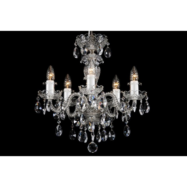 Bohemian BCC05BS Silver Crystal Chandelier - 5-Light