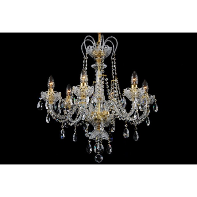 Bohemian BCC06A Clear Crystal Chandelier with Olive Motif - 6-Light