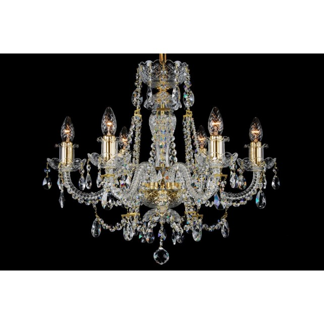 Bohemian BCC06AG Gold Crystal Chandelier - 6-Light