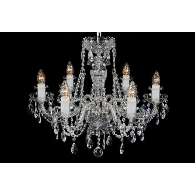 Bohemian BCC06CS Silver Crystal Chandelier - 6-Light