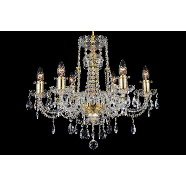 Bohemian BCC06FG Gold Crystal Chandelier - 6-Light