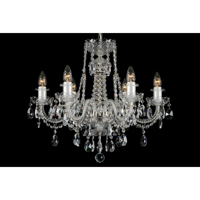 Bohemian BCC06FS Silver Crystal Chandelier - 6-Light