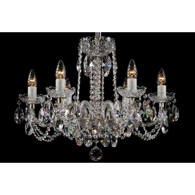 Bohemian BCC06NBS Silver Crystal Chandelier - 6-Light
