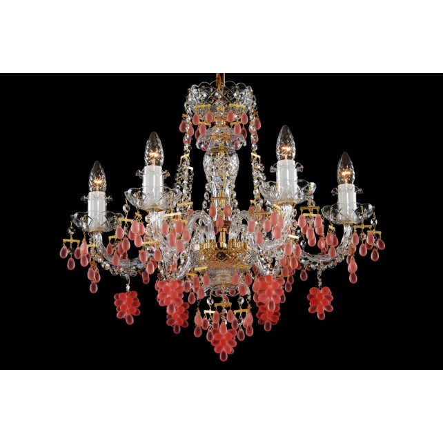 Bohemian BCC06V Crystal Chandelier with Grape-Shaped Trimmings - 6-Light