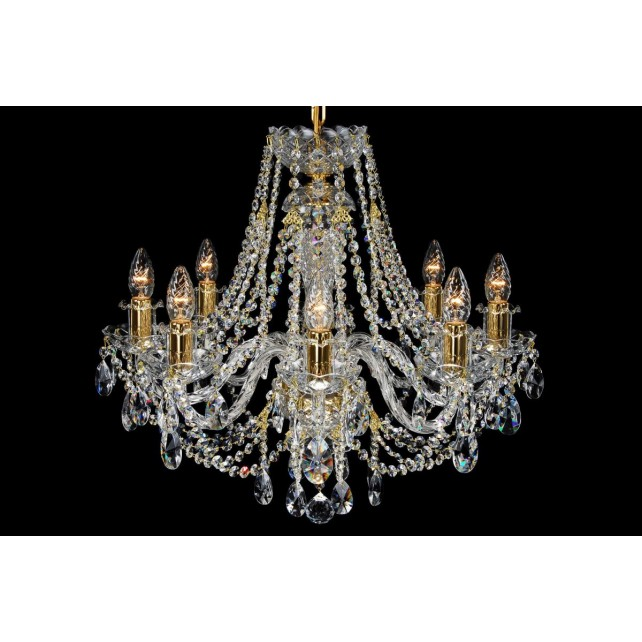 Bohemian BCC08ANG Gold Crystal Chandelier - 8-Light