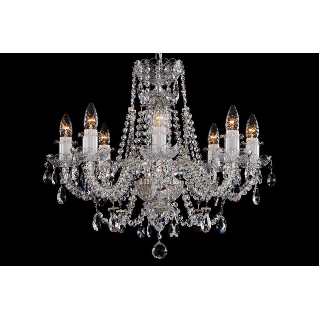 Bohemian BCC08AS Silver Leaded Crystal Chandelier - 8-Light