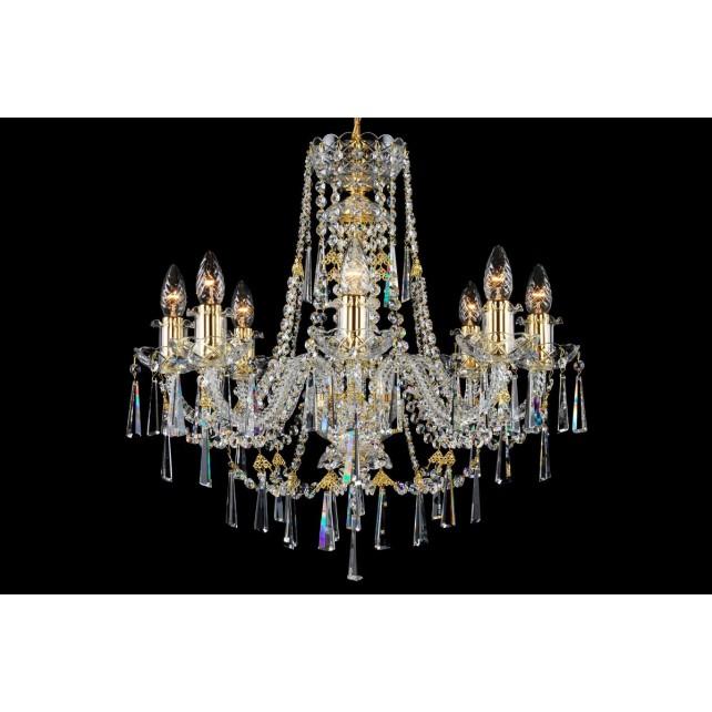Bohemian BCC08KNG Golden Crystal Chandelier - 8-Light