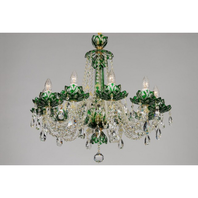 Bohemian BCC10 Green Crystal Chandelier with Lotus - 10-Light