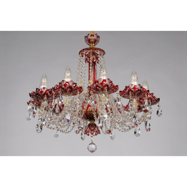Bohemian BCC10 Red Crystal Chandelier with Lotus - 10-Light