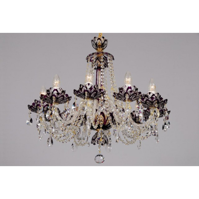 Bohemian BCC10 Violet Crystal Chandelier with Lotus - 10-Light