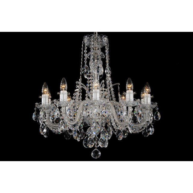 Bohemian BCC10DS Silver Crystal Chandelier - 10-Light