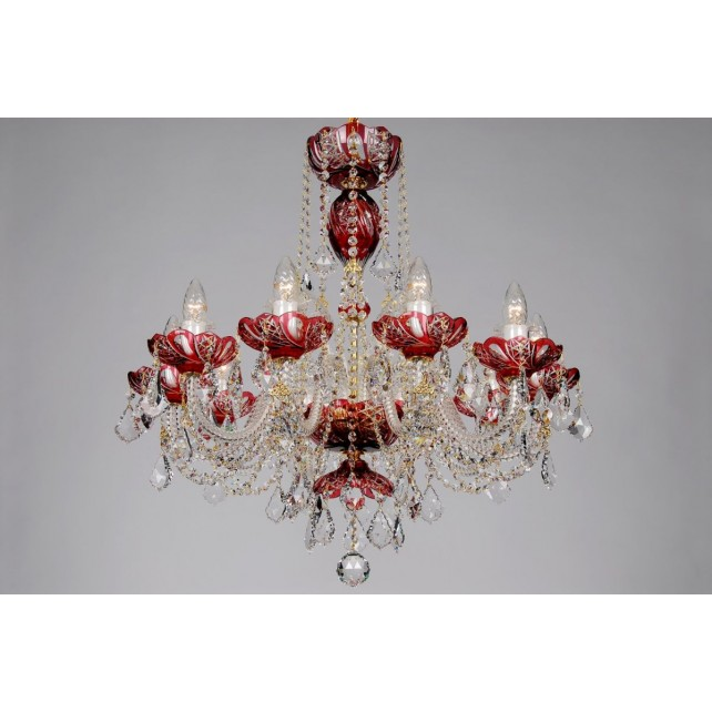 Bohemian BCC10SP Red Crystal Chandelier with Swarovski Trimmings - 10-Light