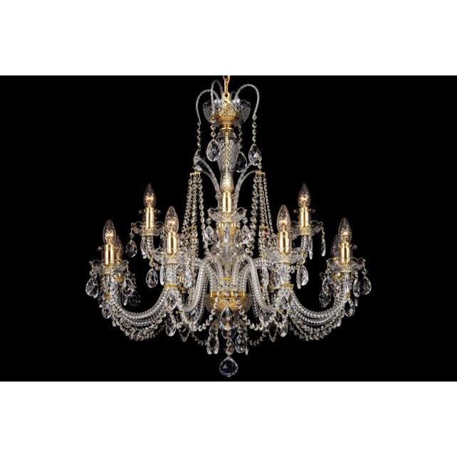 Bohemian BCC12DKG Gold Crystal Chandelier - 12-Light
