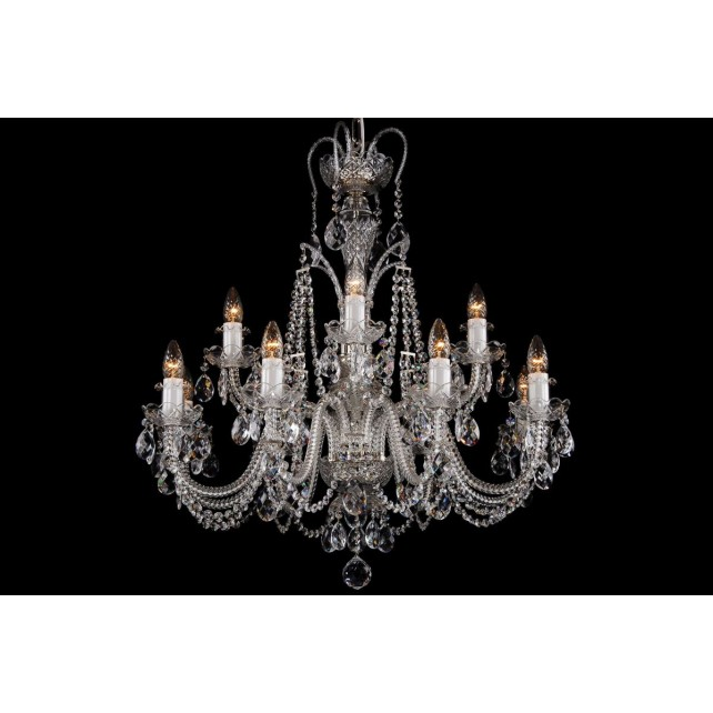 Bohemian BCC12DKS Silver Crystal Chandelier - 12-Light