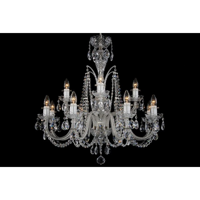 Bohemian BCC12DS Silver Crystal Chandelier - 12-Light