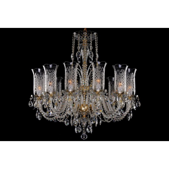 Bohemian BCC12DT Crystal Chandelier with Hand Cut Vases - 12-Light