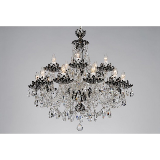 Bohemian BCC15 Black Crystal Chandelier with Lotus - 15-Light