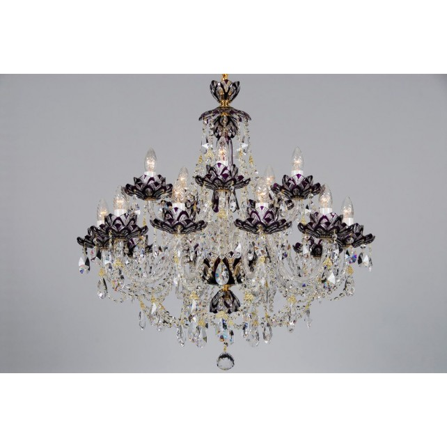 Bohemian BCC15 Violet Crystal Chandelier with Lotus - 15-Light