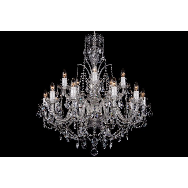 Bohemian BCC15DS Silver Crystal Chandelier - 15-Light