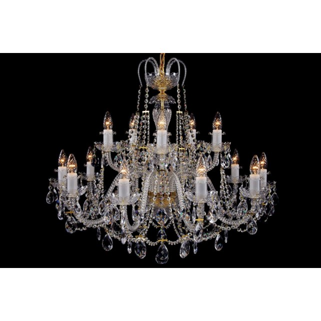 Bohemian BCC15K Colourless Crystal Chandelier - 15-Light