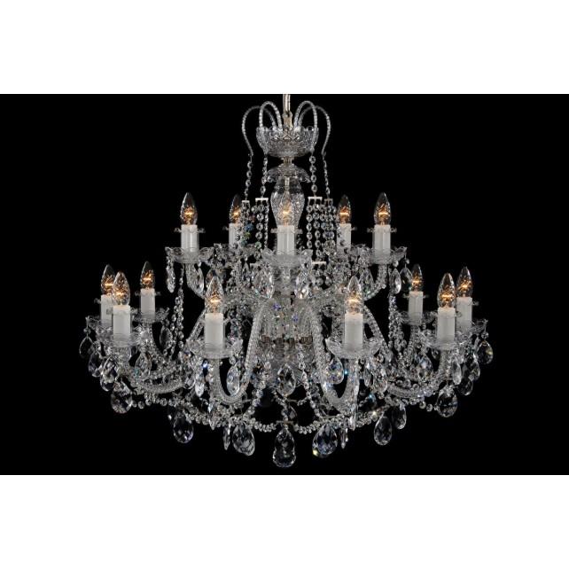Bohemian BCC15KS Silver Crystal Chandelier - 15-Light