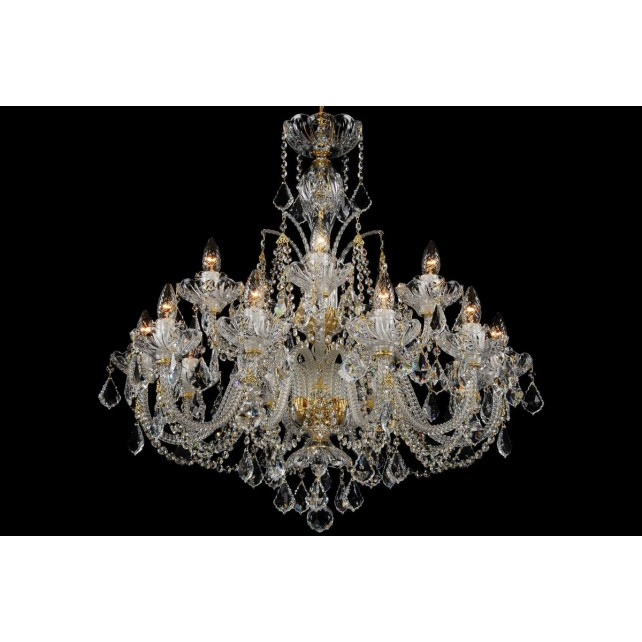 Bohemian BCC15SP Clear Crystal Chandelier with Swarovski Trimmings - 15-Light