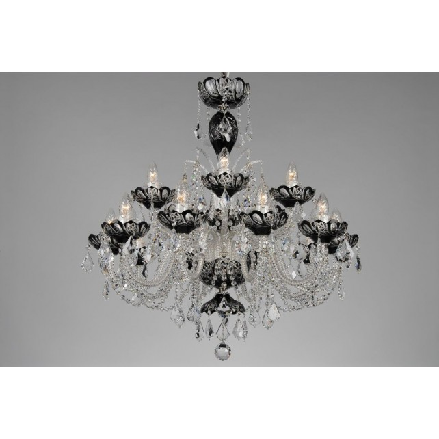 Bohemian BCC15SPS Black Crystal Chandelier with Swarovski Trimmings - 15-Light