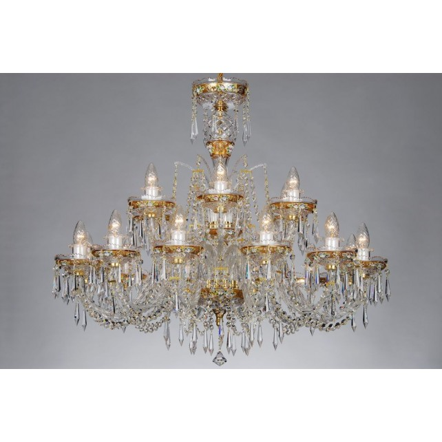 Bohemian BCC18 Gold Crystal Chandelier with Flower Motif - 18-Light