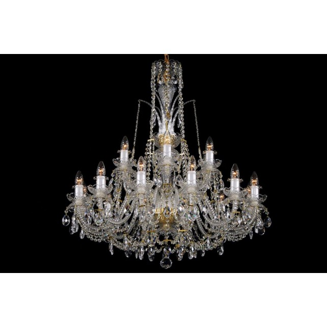 Bohemian BCC182D Crystal Chandelier with Reverse Bobeches - 18-Light