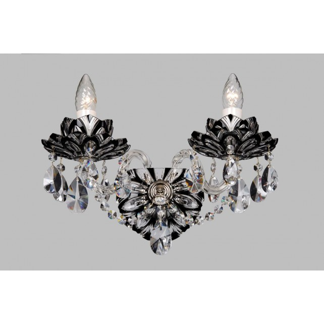 Bohemian W-02 Black Crystal Wall Lamp with Lotus - 2-Light