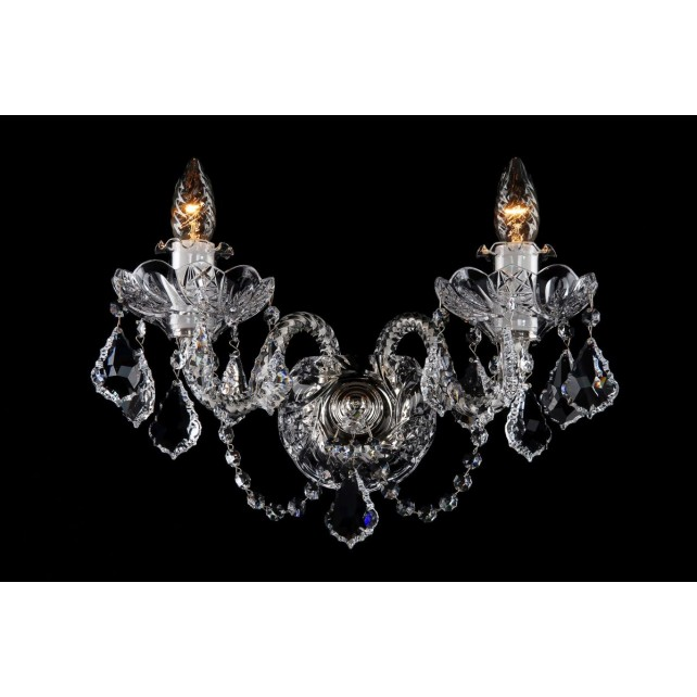 Bohemian W-02SES Clear Crystal Wall Light with Swarovski Trimmings - 2-Light