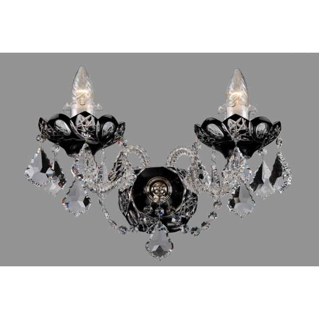 Bohemian W-02SPS Black Crystal Wall Light with Swarovski Trimmings - 2-Light