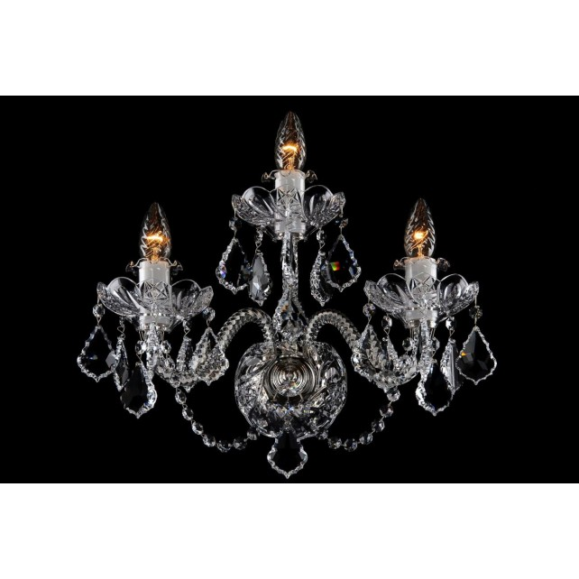 Bohemian W-03SES Clear Crystal Wall Light with Swarovski Trimmings - 3-Light