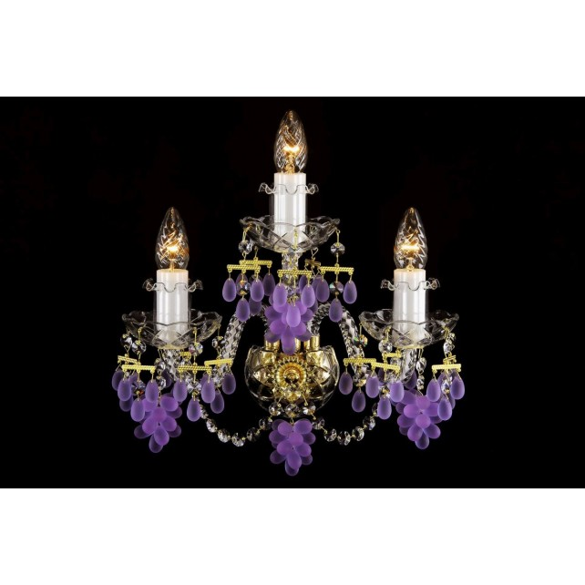 Bohemian W-03V Crystal Wall Lamp with Grape-shaped Trimmings - 3-Light