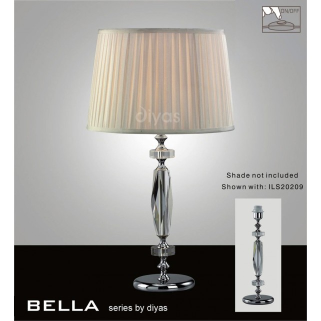 Diyas Bella Table Lamp 1 Light Polished Chrome/Crystal